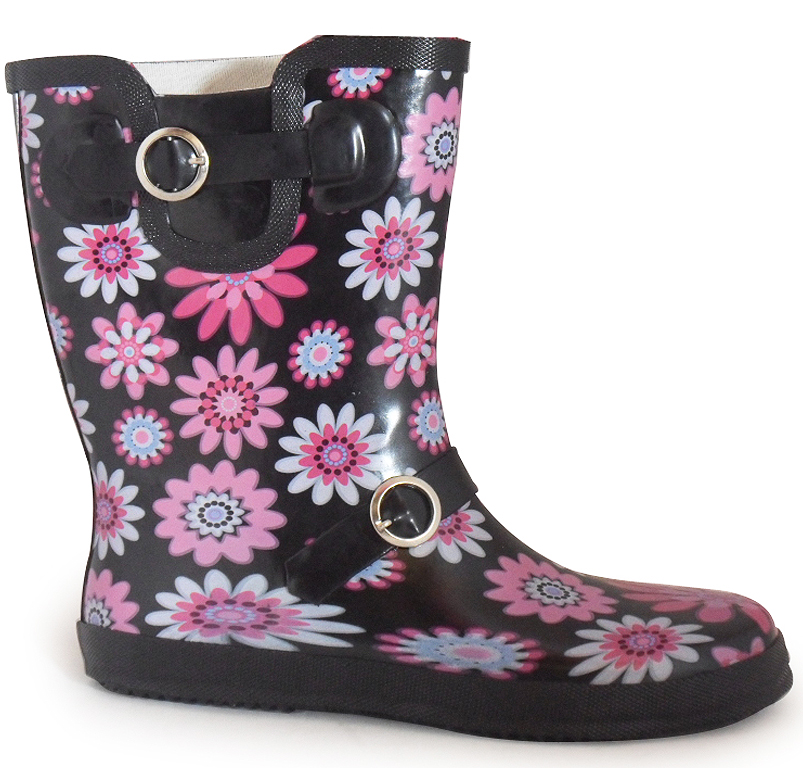new womens pink black mid calf wellies wellington